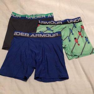 (3) Under Armour Boy's Underwear Boxer Briefs